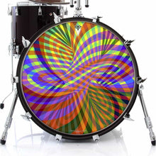 Color Stream rainbow graphic drum skin on bass drum kit by Visionary Drum