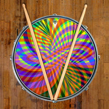 Color Stream graphic drum skin on snare by Visionary Drum; psychedelic drum art