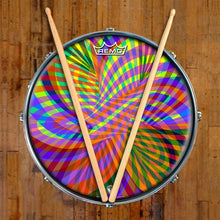 Color Stream Design Remo-Made Graphic Drum Head on Snare Drum