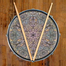 Cracked Wood Kaleidoscope Design Remo-Made Graphic Drum Head on Snare Drum;  trees, nature drum art