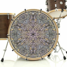 Cracked Wood Kaleidoscope bass face drum banner on bass drum by Visionary Drum