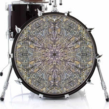 Cracked Wood Kaleidoscope graphic drum skin on bass drum kit by Visionary Drum