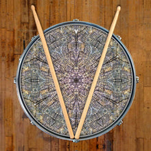 Cracked Wood Kaleidoscope graphic drum skin, nature drum art, on snare by Visionary Drum