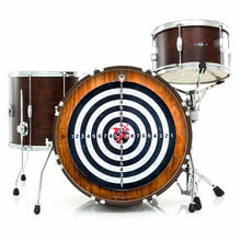 Darts graphic drum skin installed on bass drum head on drum kit; target for game of darts drum art