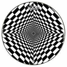 Duality Dive Design Remo-Made Graphic Drum Head by Visionary Drum; geometric drum art
