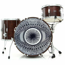 Drum set with Visionary Eye Graphic drum head on bass