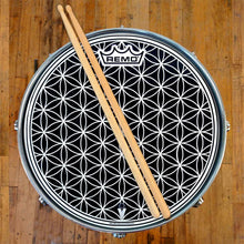 "12"" flower of life graphic drum head on snare drum made by Remo."