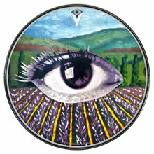 Field of Vision graphic drum skin installed on bass drum head by Visionary Drum; third eye drum art