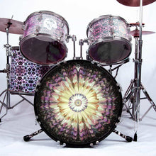 Floral Space graphic drum skin installed on bass drum head installed on drum kit; nature drum art