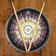 Floral Space design graphic drum skin on snare drum by Visionary Drum; space drum art