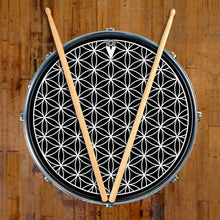 Flower of Life design graphic drum skin on snare drum by Visionary Drum; spiritual drum art