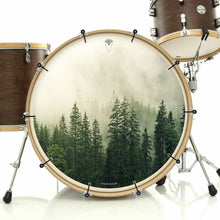 Fog in the Forest bass face drum banner installed on drum kit; visionary drum art