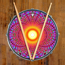 Fractal Flash graphic drum skin on snare drum by Visionary Drum; pink geometric drum art
