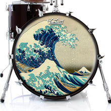 "22"" Fuji Wave Graphic Drum Head - Powered by Remo Art by Hokusai"