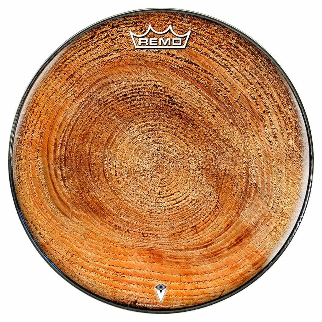 Wood drum head growth ring woodgrain