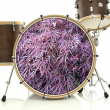 Japanese Maple bass face drum banner installed on drum kit; pink drum art