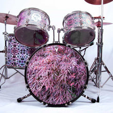 Japanese Maple graphic drum skin installed on bass drum head shown on drum kit; leaves drum art
