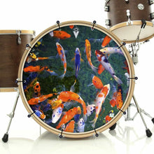 Koi bass face drum banner installed on drum kit by Visionary Drum; nature drum art