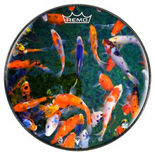 Koi Design Remo-Made Graphic Drum Head by Visionary Drum; fish drum art