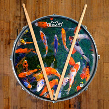 Koi Design Remo-Made Graphic Drum Head on Snare Drum; orange drum art