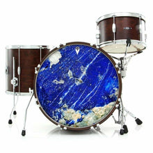 Lapis Lazuli graphic drum skin installed on bass drum head shown on drum kit; nature pattern drum art