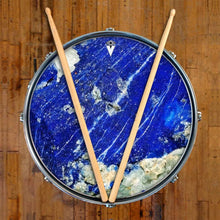 Lapis Lazuli graphic drum skin on snare drum head by Visionary Drum; abstract drum art
