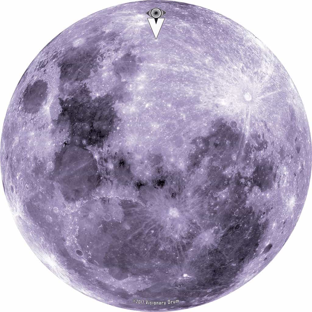Purple Moon design graphic drum skin by Visionary Drum; moon drum art