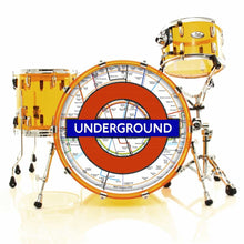 London Underground graphic drum skin installed on bass drum head and shown on gold drum kit; map of london tube drum art