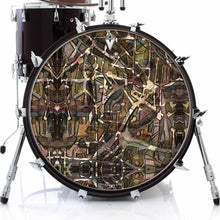 Many Layers graphic drum skin on bass drum head by Visionary Drum; camo drum art