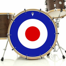Mod Target bass face drum banner installed on drum kit by Visionary Drum; minimalist drum art