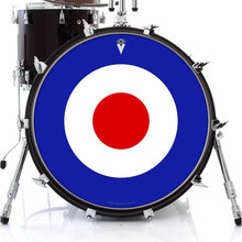 Mod Target graphic drum skin on bass drum head by Visionary Drum; circle drum art