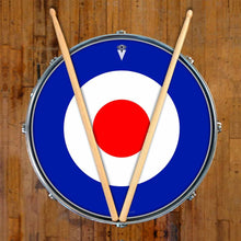 Mod Target graphic drum skin on snare drum head by Visionary Drum; red circle drum art
