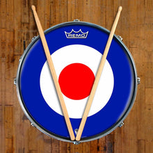Mod Target Design Remo-Made Graphic Drum Head on Snare Drum; circle drum art