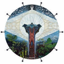 Visionary psychedelic graphic bass face banner; spiritual drum art