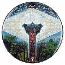 Visionary psychedelic graphic Remo drum head; nature painting drum art