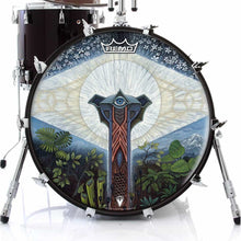 Visionary psychedelic graphic drum head made by Remo; surreal drum art