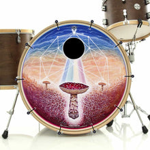 Black Sun mushroom psychedelic graphic bass face drum banner on bass drum; visionary drum art