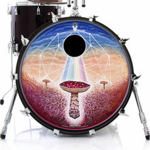 Black Sun mushroom psychedelic graphic drum skin art decal on bass drum head; visionary drum art by Moksha Marquardt