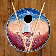 Black Sun graphic drum skin art decal on snare drum head; mushroom drum art