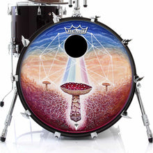 Black Sun mushroom psychedelic graphic Remo drum head on bass drum; geometric drum art