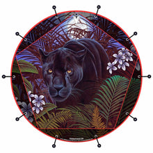 Panther in nature graphic basss face banner art; spiritual drum art