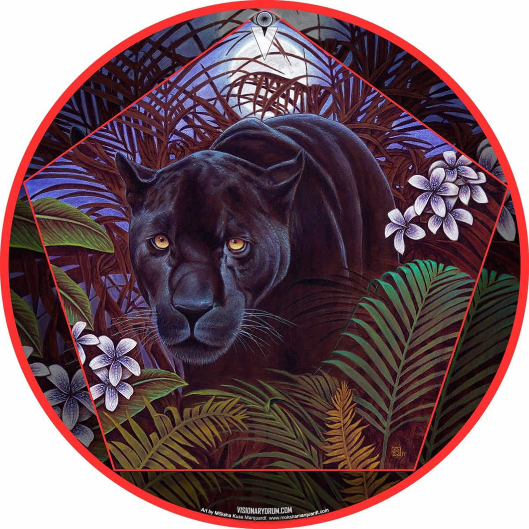 Panther in nature graphic drum skin decal art; nature painting drum art by Moksha Marquardt