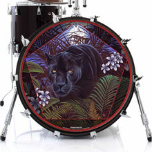 Panther in nature graphic drum skin decal art on bass drum head; jungle drum art