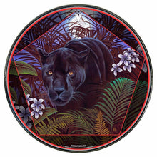Panther in nature graphic drum skin installed on bass drum head by Visionary Drum; animal totem drum art