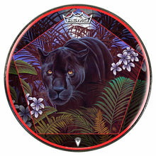 Concentration by Moksha Marquardt graphic Remo drum head; black panther drum art
