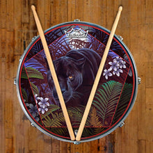 Panther in nature graphic Remo drum head art on snare drum; Concentration, painting by Moksha Marquardt