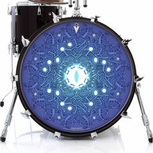 Evolution 3 by Moksha Marquardt graphic drum skin on bass drum head by Visionary Drum; blue drum art