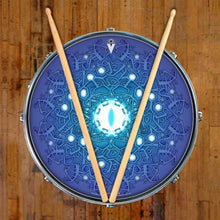 Evolution 3 by Moksha Marquardt graphic drum skin on snare drum head by Visionary Drum; mandala drum art