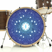Evolution 3 by Moksha Marquardt bass face bass drum art banner installed on bass drum; visionary drum art