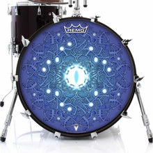 Evolution 3 by Moksha Marquardt Remo-made graphic drum head on bass drum; geometric drum art